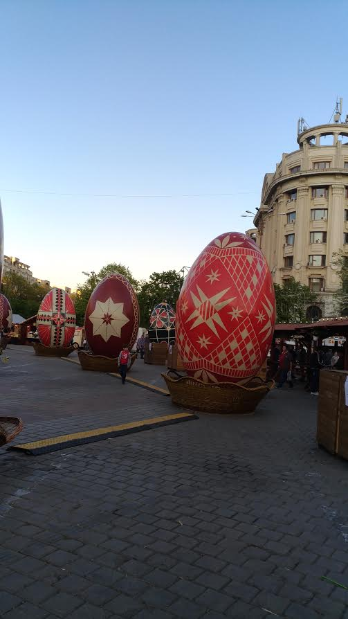 Easter Market in Bucharest, Romania - some of the giant Easter eggs decorating the Ester fair