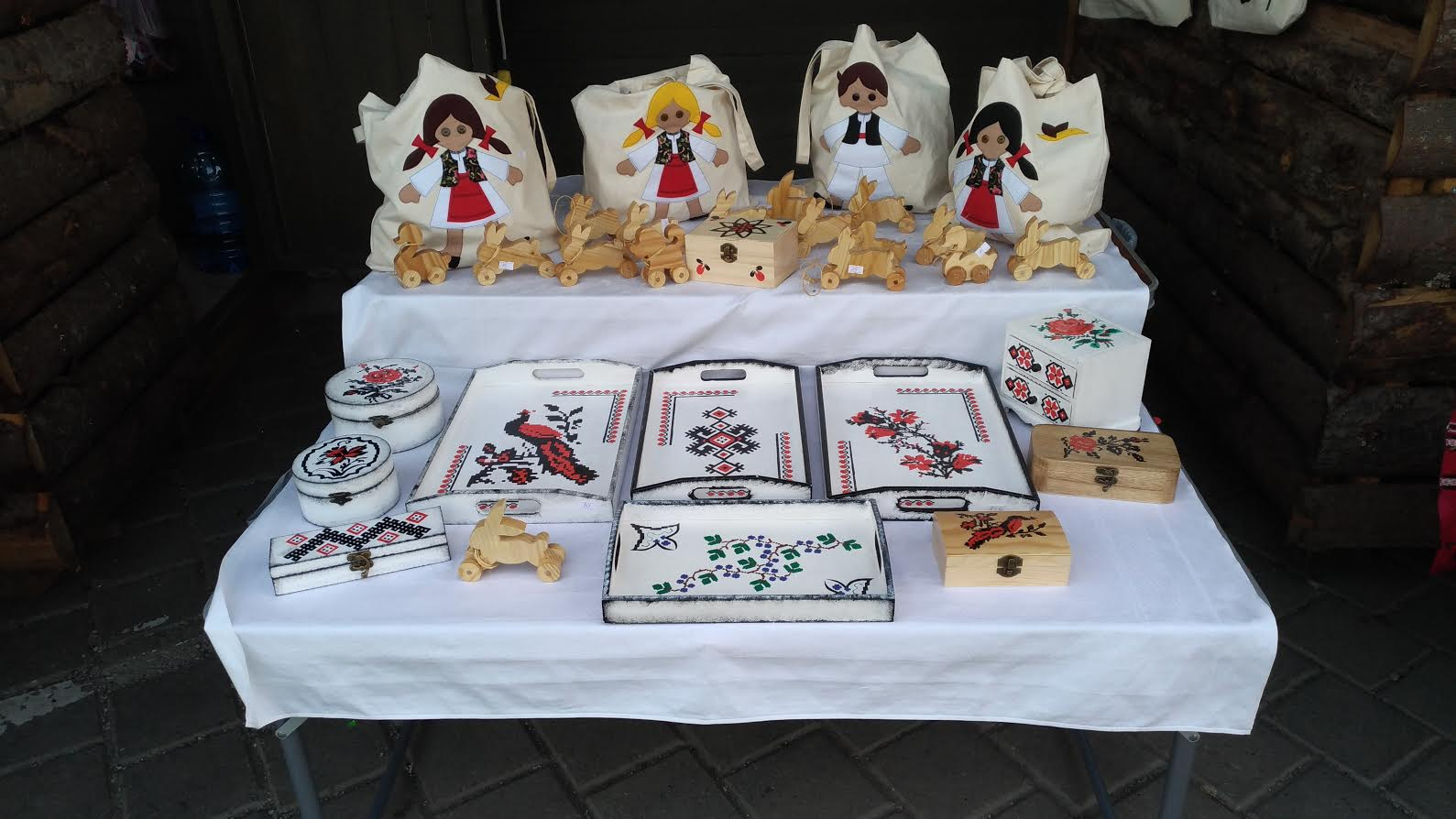 Easter Market in Bucharest, Romania - various objects decorated with traditional motifs