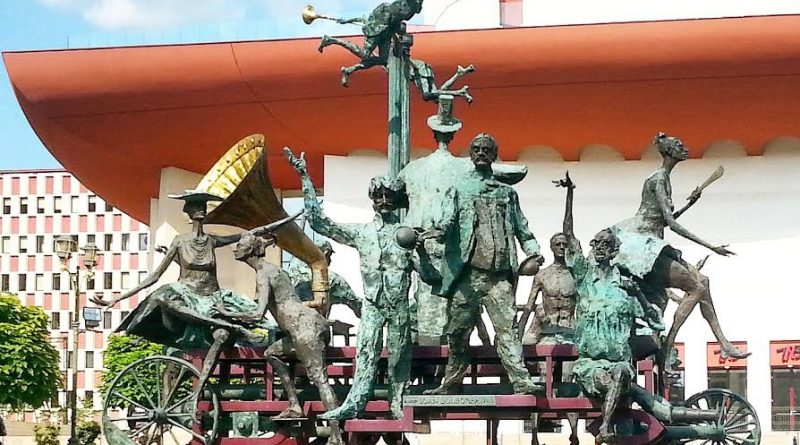 Statues in front of the National Theatre in Bucharest