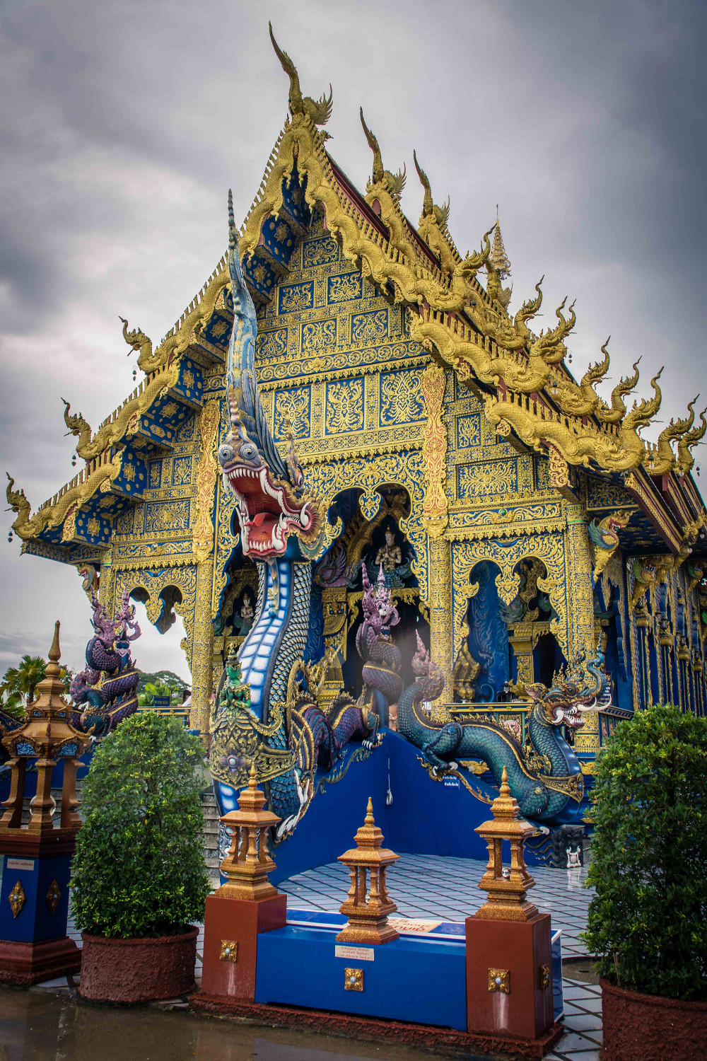 Wat Rong Suea Ten also known as the Blue Temple in Chiang Rai