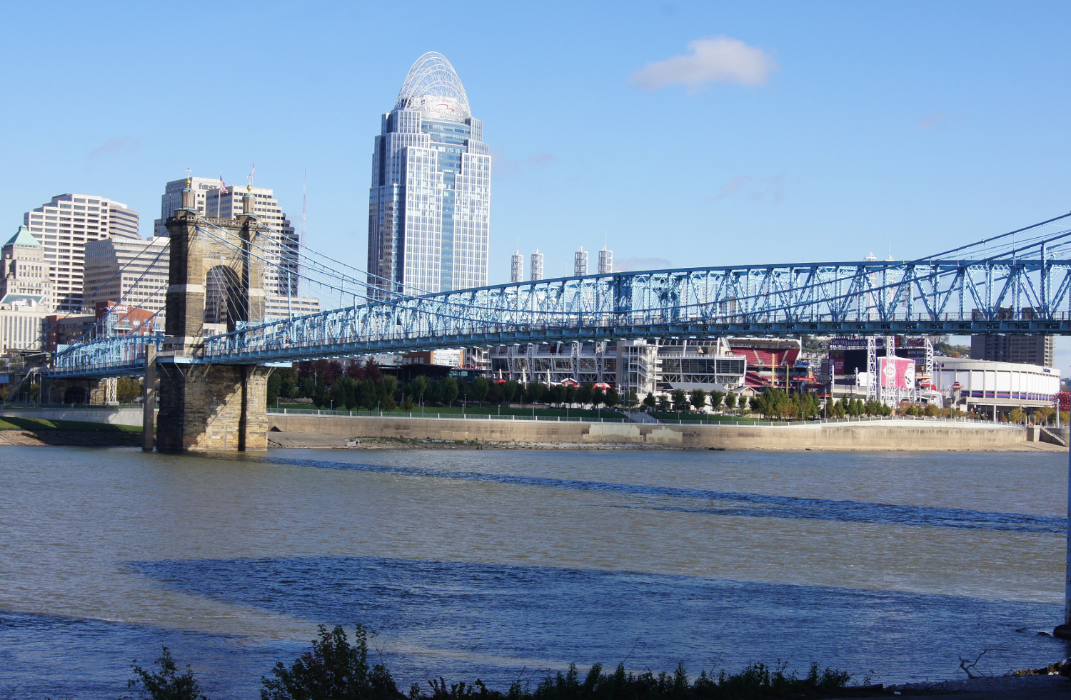 Unique attractions in Cincinnati, Ohio, USA - Roebling Bridge