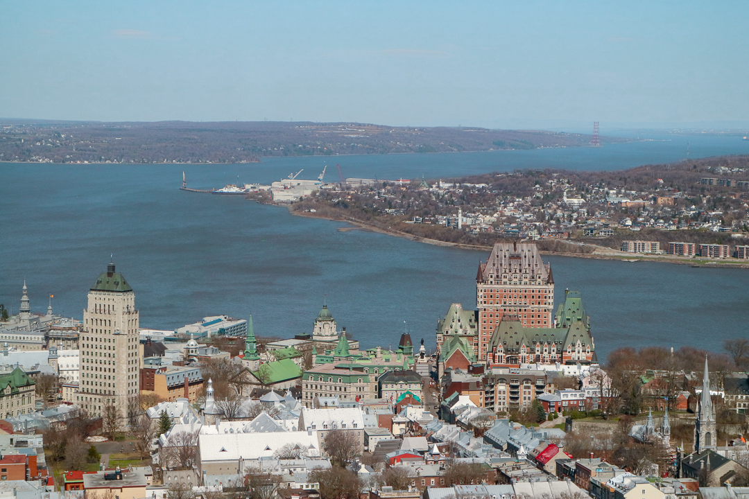 View of the Quebec City Canada from the Capital Observatory. Discover the top attractions in Quebec City, Canada from an insider and how to spend 2 days in Quebec City Canada, including what to eat in Quebec and what to do in Quebec in 2 days. #quebec #quebecitinerary #quebectravel #quebectips #quebecguide #quebeccityitinerary
