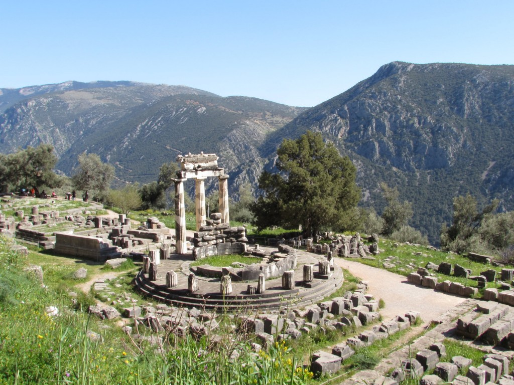 The Ancient Oracle at Delphi in Greece, one of the popular world heritage sites. Read this article to discover more UNESCO World Heritage Sites in Europe recommended by travel bloggers. #UNESCO #unescosites #unescositeseurope #europeunesco