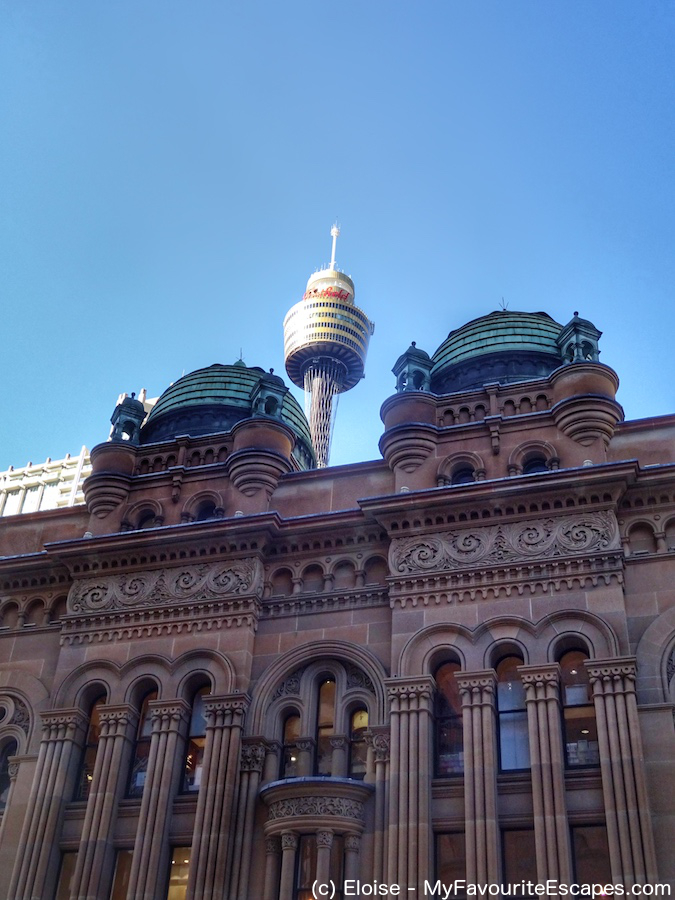 Sydney QVB and Tower, two landmarks of Sydney. Read this Sydney travel itinerary and find out what do see in Sydney in 3 days and the best places to eat in Sydney. #sydney #australia #sydneyaustralia #sydneyguide #sydneyitinerary #sydneytraveling #australiatraveling #sydneytravelguide