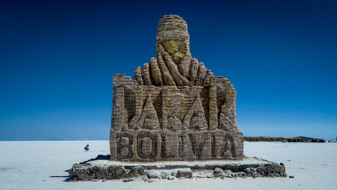 Dakar monument in Salar de Uyuni, Bolivia. Tips for visiting Salar de Uyuni, Bolivia