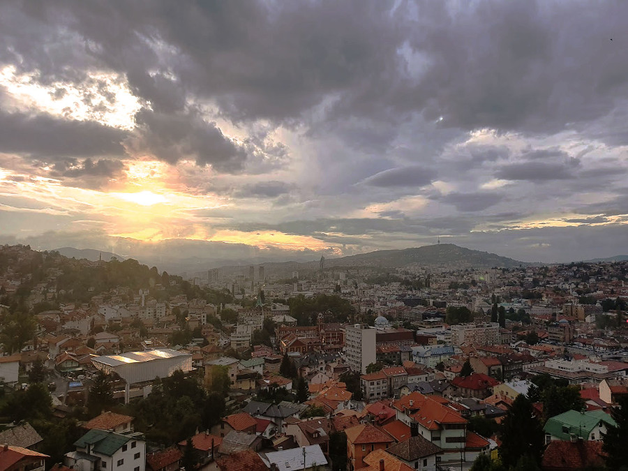 Sunset in Sarajevo. Discover the best things to do in Sarajebo as well as the best places to visit in Bosnia and Herzegovina for first timers from this Bosnia and Herzegovina travel guide.